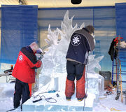 Ice sculptors at work Royalty Free Stock Images