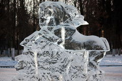Ice sculpture. Horse outdoors in the winter Stock Image
