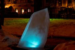 Ice sculpture of blue crystal. royalty free stock photography