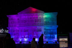 Ice sculpture of a copy of the City Hall of Moscow Royalty Free Stock Photo