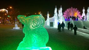 Ice sculpture of a cyrillic letter at Winter Fest. Winter festival, Perm region, Russia royalty free stock photography