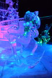 Ice sculpture of Disney Princess Ariel cartoon. Disney Princess Ariel cartoon ice sculpture Stock Photography