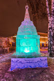 The Ice sculpture: The Entrance Arch. Winter 2014. December. Evening. Russia. Moscow. Center. The Hermitage Garden. Russian educational Park: In the Circle of Stock Photo