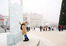 Ice sculpture exhibition in Dmitrov, Russia. Royalty Free Stock Photos