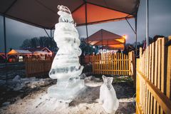 Ice sculpture festival. PAKRUOJIS, LITHUANIA - FEBRUARY 03, 2018:  Ice sculpture festival in Pakruojis Manor. Night time Royalty Free Stock Photography