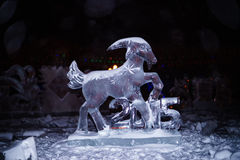 Ice sculpture of the goat - the sign of 2015 year in Chinese zod Stock Images