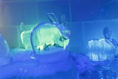 An ice sculpture of a hare Royalty Free Stock Photography