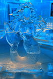 Ice sculpture of mermaid,where one can pose for picture Royalty Free Stock Photography
