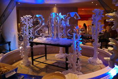 Ice sculpture of 2016 number for New Year buffet Stock Photos