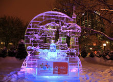 Ice sculpture of Paralympic winter Games, illuminated at night in Confederation Park, Ottawa Royalty Free Stock Photos