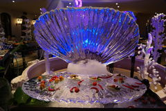 Ice sculpture of Perl Shell Royalty Free Stock Photography