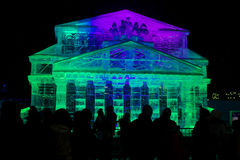 Ice sculpture replica of the building of the Bolshoi Theatre Royalty Free Stock Image