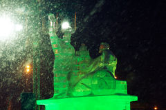 Ice sculpture replica of the monument Stock Photos