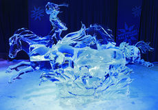 Ice sculpture of rider and horses, illuminated at night in Confederation Park Royalty Free Stock Images