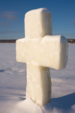 An ice sculpture in the shape of a cross Royalty Free Stock Photography