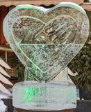 LVIV, UKRAINE - FEBRUARY 2018: Ice sculpture in the shape of a heart Royalty Free Stock Image