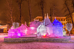 The Ice sculpture: The Terem «Pushkin's Fairy Tales». Royalty Free Stock Photo