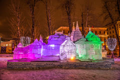 The Ice sculpture: The Terem «Pushkin's Fairy Tales». Royalty Free Stock Photos
