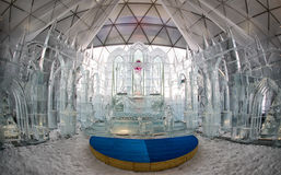 Ice sculptures and chapel Royalty Free Stock Image