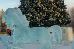 Ice sculptures in the city Royalty Free Stock Images