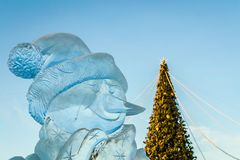 Ice sculptures in the city Stock Photo
