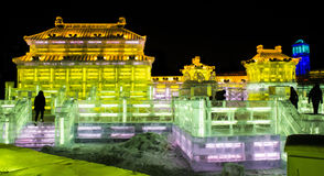 Ice Sculptures at the Harbin Ice and Snow World in Harbin China Royalty Free Stock Photo