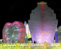 Ice Sculptures at the Harbin Ice and Snow World in Harbin China Royalty Free Stock Photos