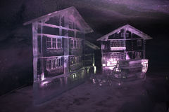 Ice sculptures: houses made of ice Royalty Free Stock Image