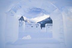 Ice sculptures on lake louise Stock Photo