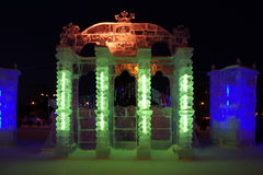 Ice sculptures at night. With lighting Stock Photography