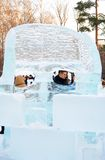 Ice sculptures in Sokolniki park. Royalty Free Stock Photography