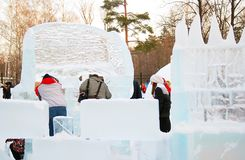 Ice sculptures in Sokolniki park. Royalty Free Stock Images