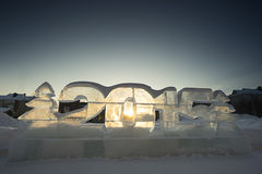 Ice sculptures 2015 at sunset Stock Photo