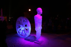 Ice sculptures winter night Royalty Free Stock Photography