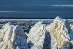 Ice in sea with dark sky. Outside was cold -15degress in Latvia, bolderaja breakwater Stock Photos