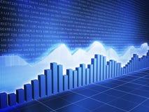 Ice Series Stock Chart with Random Data. Ice Blue Series of Stock Market Graphs Stock Photo