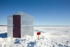 Ice Shanty with Funny Sign Stock Images
