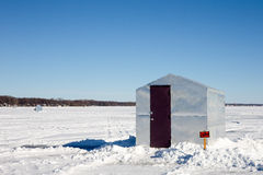Ice Shanty with Funny Sign Stock Image