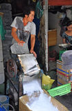 Ice Shaving Machine at Ben Tanh Market. Stock Photo