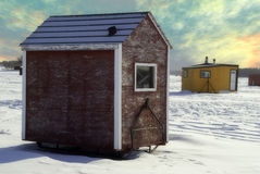 Ice Shed. Temporary shacks used for ice fishing situated on the frozen Red River in Manitoba Stock Photos