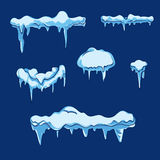 Ice sheet with icicle. Vector set in cartoon style Stock Images