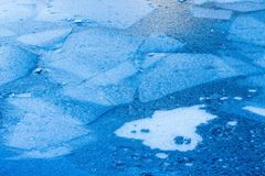Ice Sheets. Blue and White Ice Sheets Of Different Sizes Stock Photo