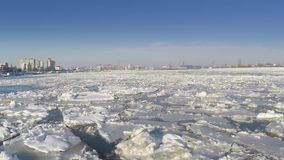 Ice sheets on the Danube river stock video footage