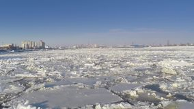 Ice sheets on the Danube river stock footage