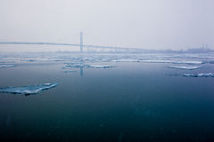 Ice Sheets on the Detroit River. Ice Sheets float on the Detroit River in the Winter season Royalty Free Stock Photography