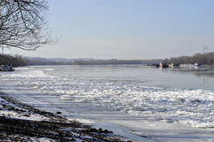 Ice sheets float on the river Danube stock images