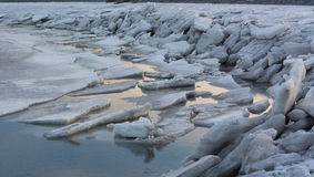 Ice Sheets Pushed Up on Shore Royalty Free Stock Photo