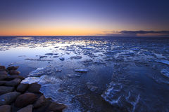 Ice shelves at sunset Stock Image