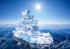 Ice ship on winter Baical Stock Photo