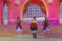 Ice show. MOSCOW, RUSSIA - DECEMBER 19, 2016: Ice show `Chipollino` - Signor Tomato and Countess Cherry. The annual festival of `Journey to Christmas`, Moscow royalty free stock photos